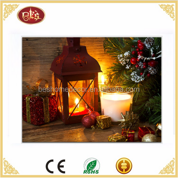 Holiday home decor Battery Operated candle Christmas LED canvas wall art print