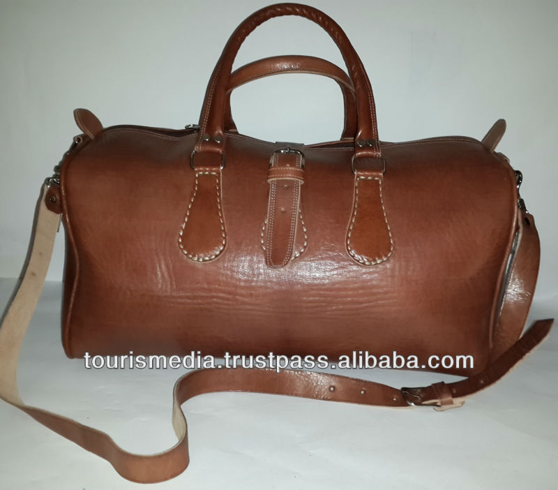 Brown Handmade moroccan leather Travel bags made in Marrakech design x02