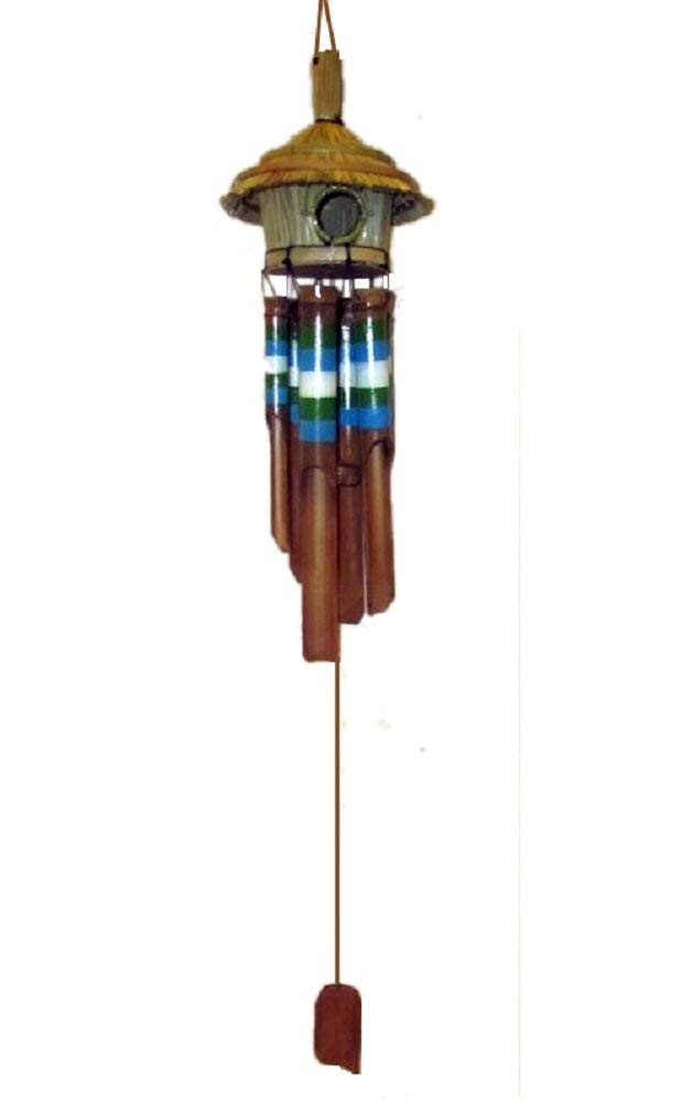 """Chesapeake Bay 36"""" Bamboo Birdhouse Wind Chime with Blue, Green and White Stripes 23800"""
