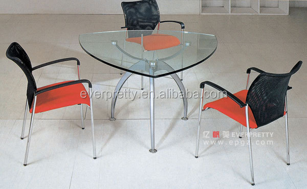 Modern Glass Top Small Office Discussion Office Table Triangle Conference  Table