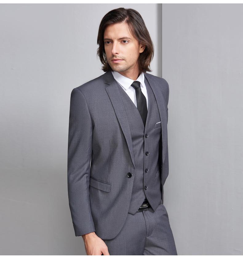 Gris Manteau Pantalon Hommes Costumes Slim Fit Smokings Costumes De Mariage Pour Les Mariés Costume 3 Pièces Veste Pantalon Gilet Buy Costumes