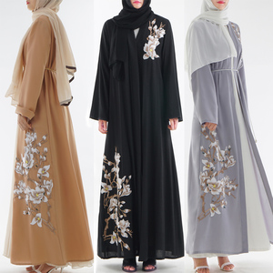 2019 new design fashionable embroidery beautiful long sleeve islamic front open abaya kimono for muslim women