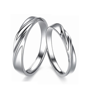 Korean Hot Sale 925 Italian Silver Plain Twist Ring adjustable Couples Rings for lover