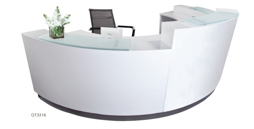 White Curved Modern Design Reception Counter Buy