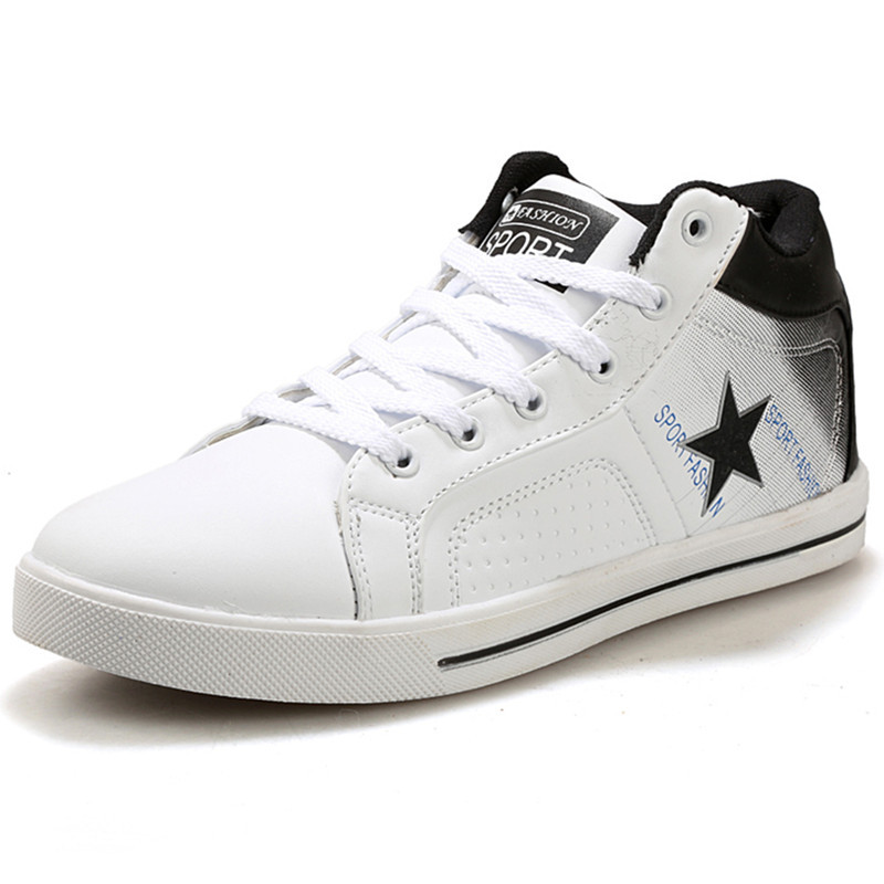 30d55a0a0e5 Get Quotations · 2015 Star Men High Top Sneakers Shoes Winter Leather Shoe  Men Casual High Top Shoes Canvas