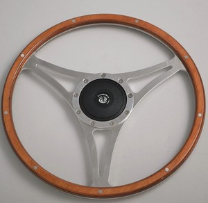 "Laminated Wood High Polished 15"" Classic Steering Wheel for Old Car"
