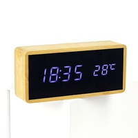 KH-WC034 Square Decorative Table Bamboo LED Mirror Clock With Temperature