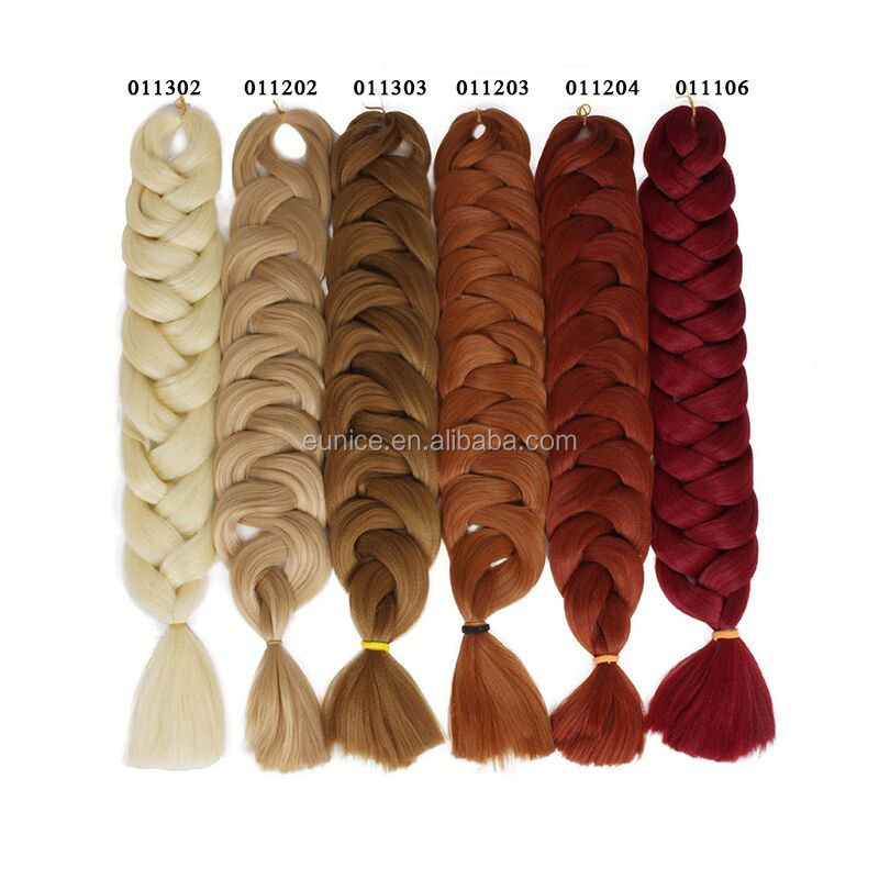 Wholesale Price many colors 24inch Synthetic Jumbo Braid Xpression Crochet Braiding Hair DIY Box Braids Hairstyle OMBRE COLORS