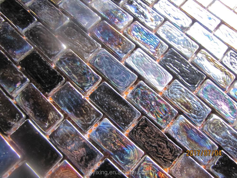 Sierstrip Chroom Badkamer : Populair in amerikaanse strip zwart iriserende glas metro tegel voor