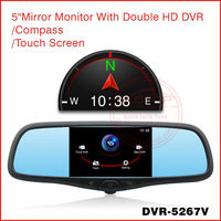 Anti-glare HD car rearview mirror with campass, photographic, front and back DVR