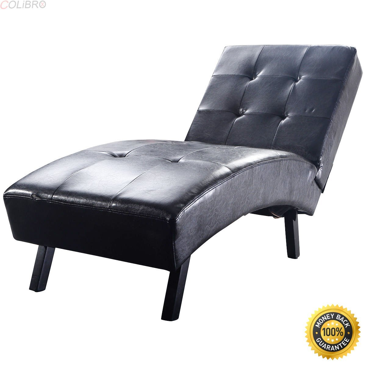 COLIBROX--New Modern Chaise Lounge Leather Chair Armless Furniture Living Room Black,armchair cheap,Soft Modern Arm Chair,cheap living room chairs,living room chair,chairs for sale cheap