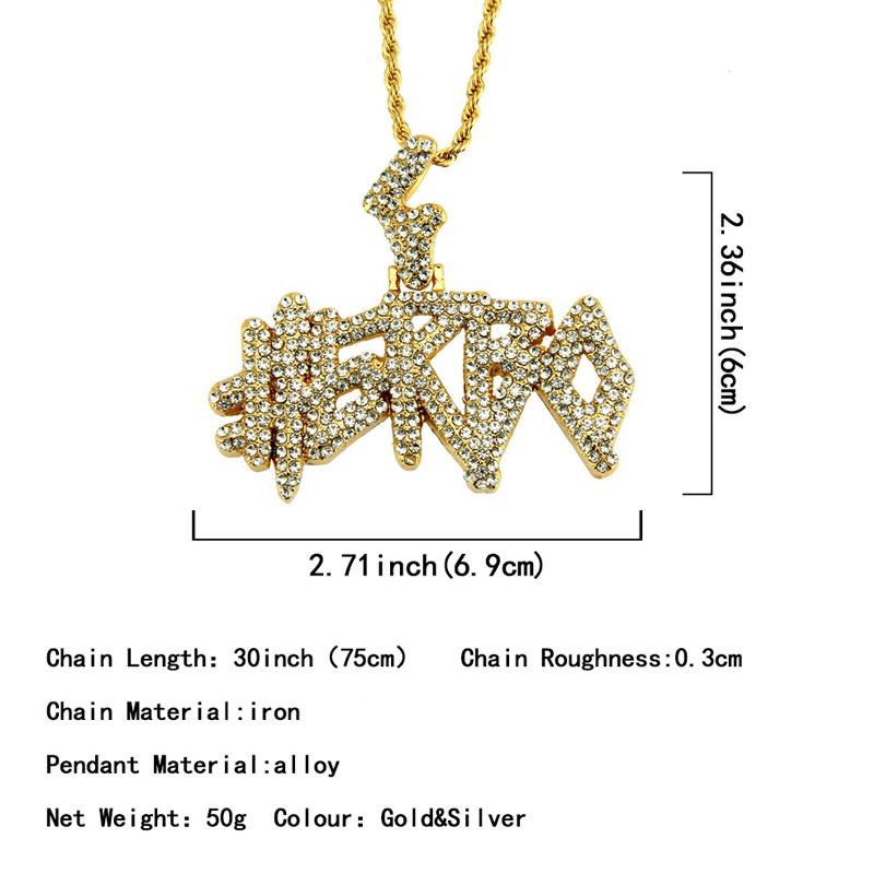Hiphop Rock Gold Plated Bling Iced Out Crystal Zircon Necklace Jewelry Full Diamond Word Collection Custom Necklace Personalized