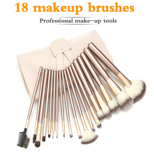 18Pcs Soft Make Up Tools Cosmetic Beauty kabuki Makeup Brush Sets With Leather Case