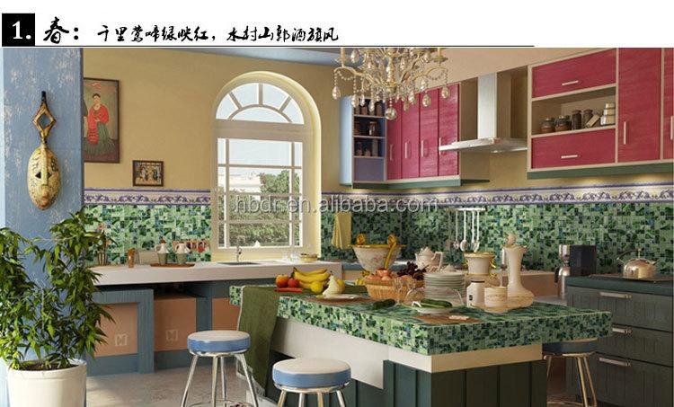 Fabrik Preis Kundenspezifisches Design Deco Glas Mosaik Küche Backsplash  Wandfliesen