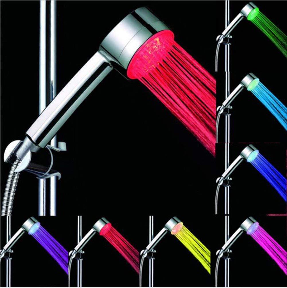 Large LED Light Shower Head,Automatically 7 Colors Changing LED Light Handheld Showerhead High Pressure Water Saving Rainfall Bathroom Showerhead