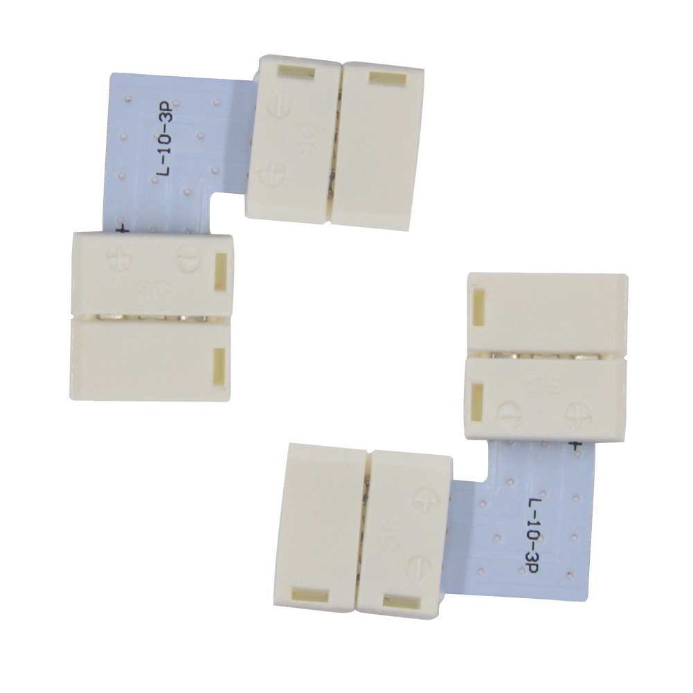 Mokungit 10pcs 10mm 3 Pin L-Shape LED Strip PCB Connector Adapter For WS2812B WS2811 SK6812 LED Strip No Soldering