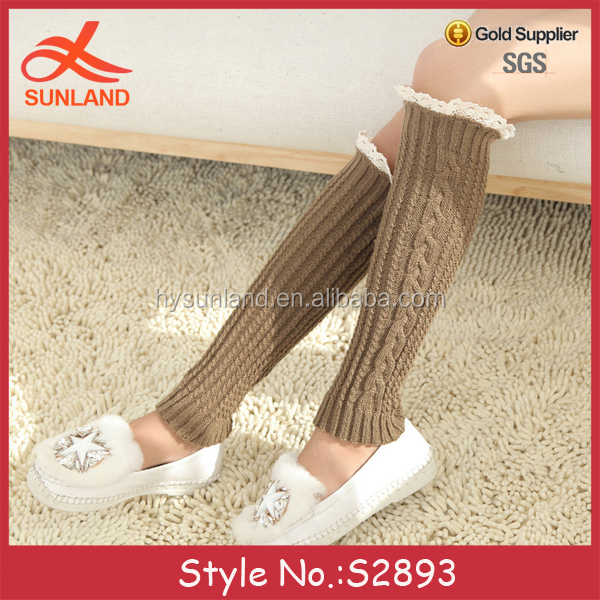 S2893 fashion 2017 hot girls knitted dance leg warmers wholesale for women with lace trim