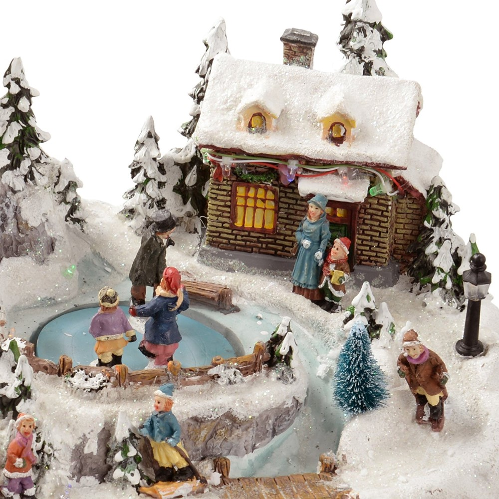 35 cm Animated Polyresin Christmas LED Village model with moving gifts