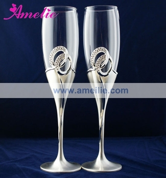 A8122 wholesale glass ring decorative champagne flutes for Decorative wine glasses cheap