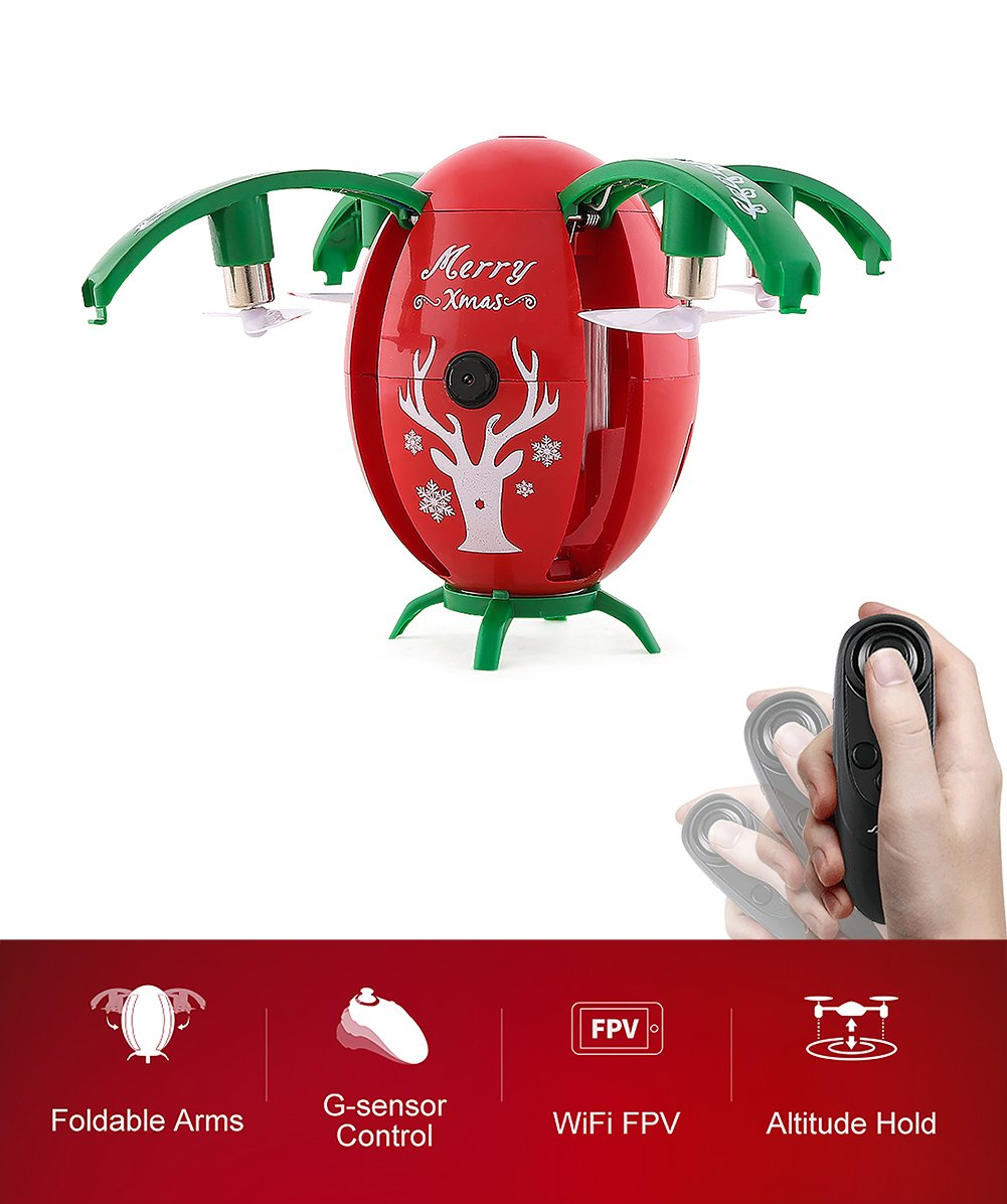 BTG JJRC H66 Christmas Egg-shaped RC Drone With Gravity Sensing Remote Control, WIFI FPV, Altitude Hold, 720P HD Camera, Headless Mode, One-key Unfold (Color: Red)