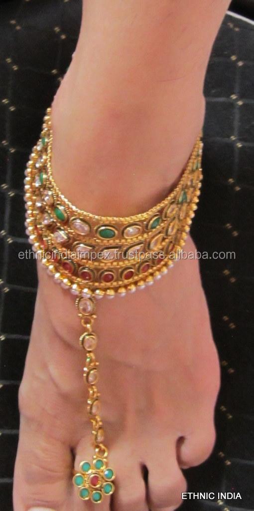 Gold Polki Payal Anklets Feet Bracelet Toe Ring Pair Buy Fashion