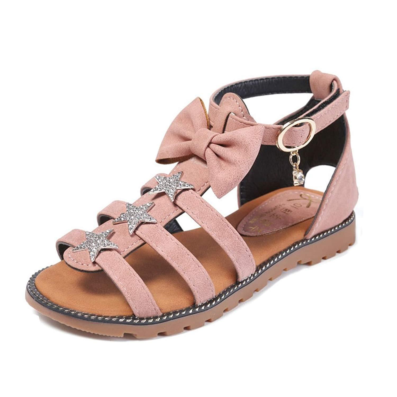 Girl's Bowknot Open Toe Flat Strap Sandals Summer Beach Non-Slip Sandals Casual Shoes(Toddler/Little Kid)