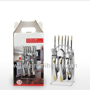 Stainless Steel flatware set with Iron stand and Color box