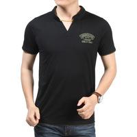 china manufacturer clothing 2017 summer men OEM embroidered brand logo v-neck t shirt short sleeve t shirt for men