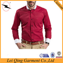 European new designs red men's high quality red shirt white collars