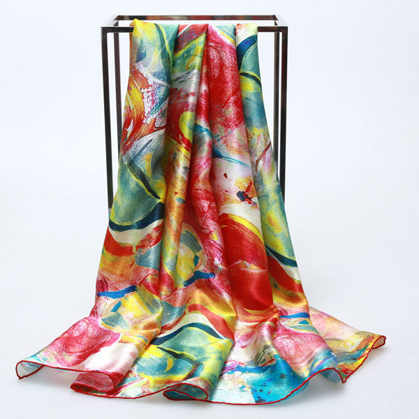 2015 fashion aesthetic curve silk scarf large square 110cm*110cm summer high quality women's Silk Scarf