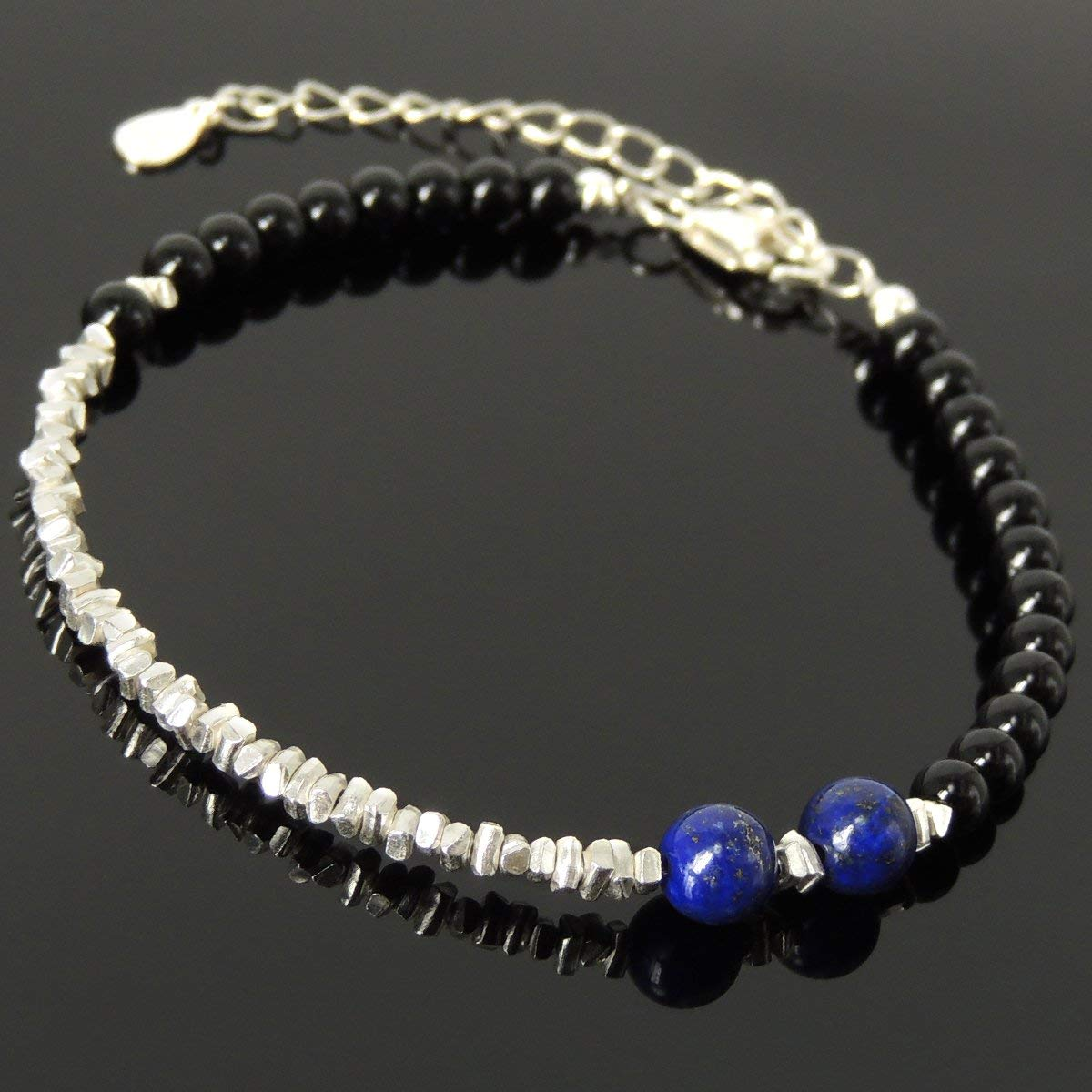 Handmade Healing Bracelet Men & Women Casual Wear, Festival Jewelry with Bright Black Onyx, Lapis Lazuli & S925 Sterling Silver Chain, Clasp, Nugget Spacer Beads (Non-plated)