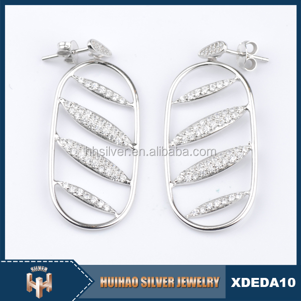 round shape woman pure 925 sterling silver plated hoop earrings charms