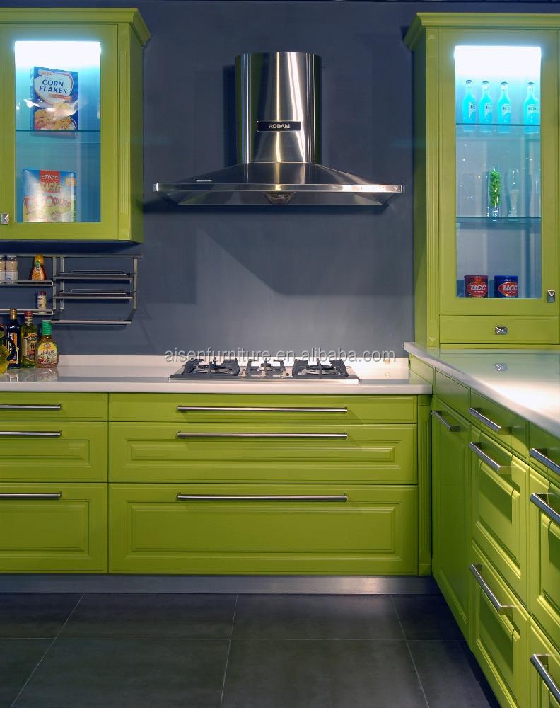 Groene kleur commerciële keuken meubels lak modulaire keukenkast ...