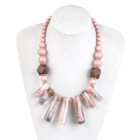 Fashion Exaggerated Hyperbolic Chunky Bar Resin Necklace Wooden beads Clavicle Resin Necklace