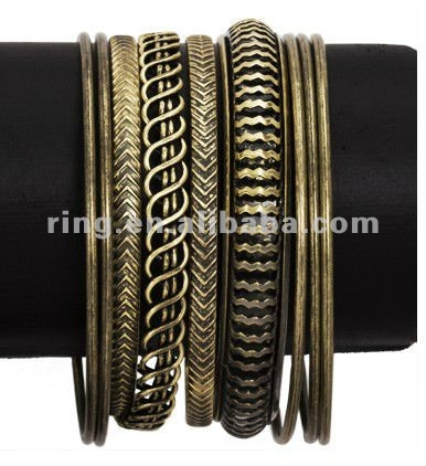 9 Sets Antique Gold Various Stackable Bangle Bracelet