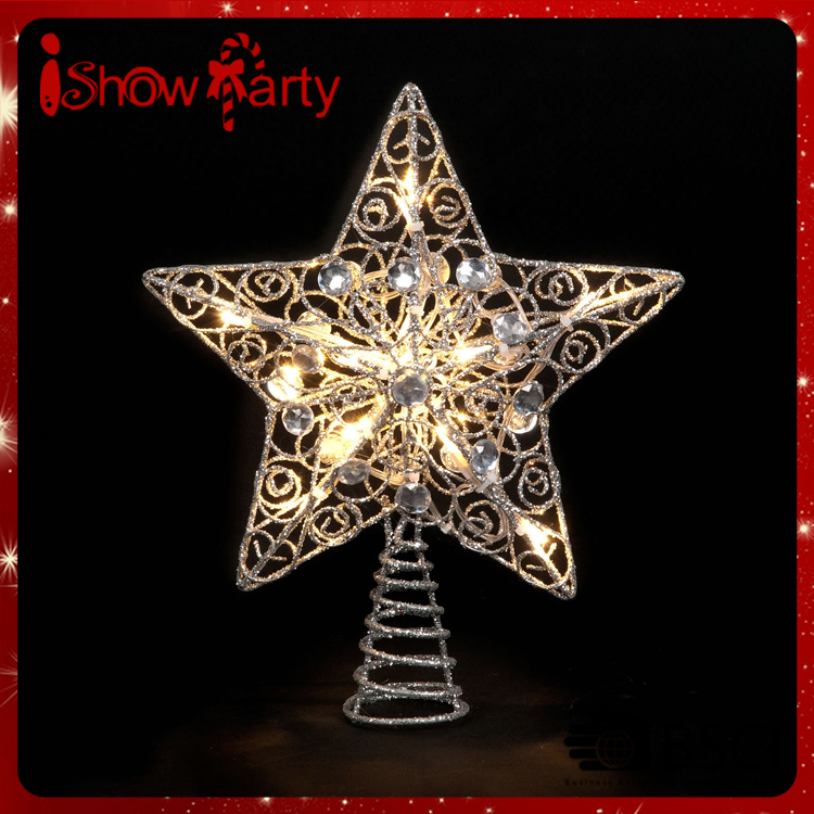 2017 wholesale christmas tree star silver glitter battery operated tree topper star with led lights - Christmas Tree Star