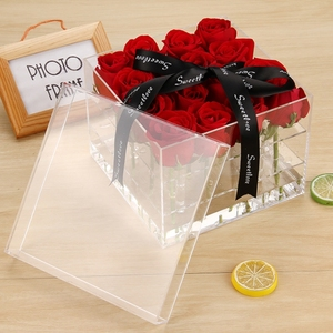 Valentines Gift Plastic Flower Box 16 Pieces Watertight Acrylic Flower Box for Rose