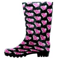 Cheap PVC Pink Ribbon Butterfly Rain Boots wholesaler