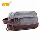 HOT man Travel Toiletry Bag Cosmetic Pouch with PU Leather handle