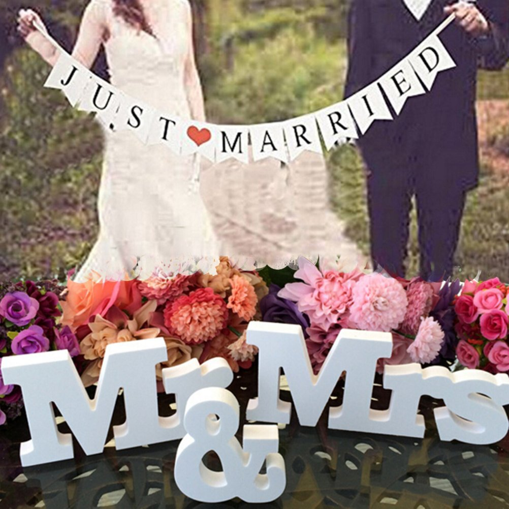 c85e75227bb9 Get Quotations · Buytra Wedding Decorations Set with Just Married Wedding  Banner Mr   Mrs Signs Letters for Sweetheart