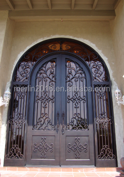 High end atmosphere modern design wrought entry iron door for High end exterior doors