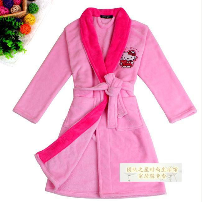 Get Quotations · Newest Pink Cartoon Pattern Flannel Kids Sleepwear   Robes  Girls  Bathrobes Pajamas Free Shipping d32599ba3
