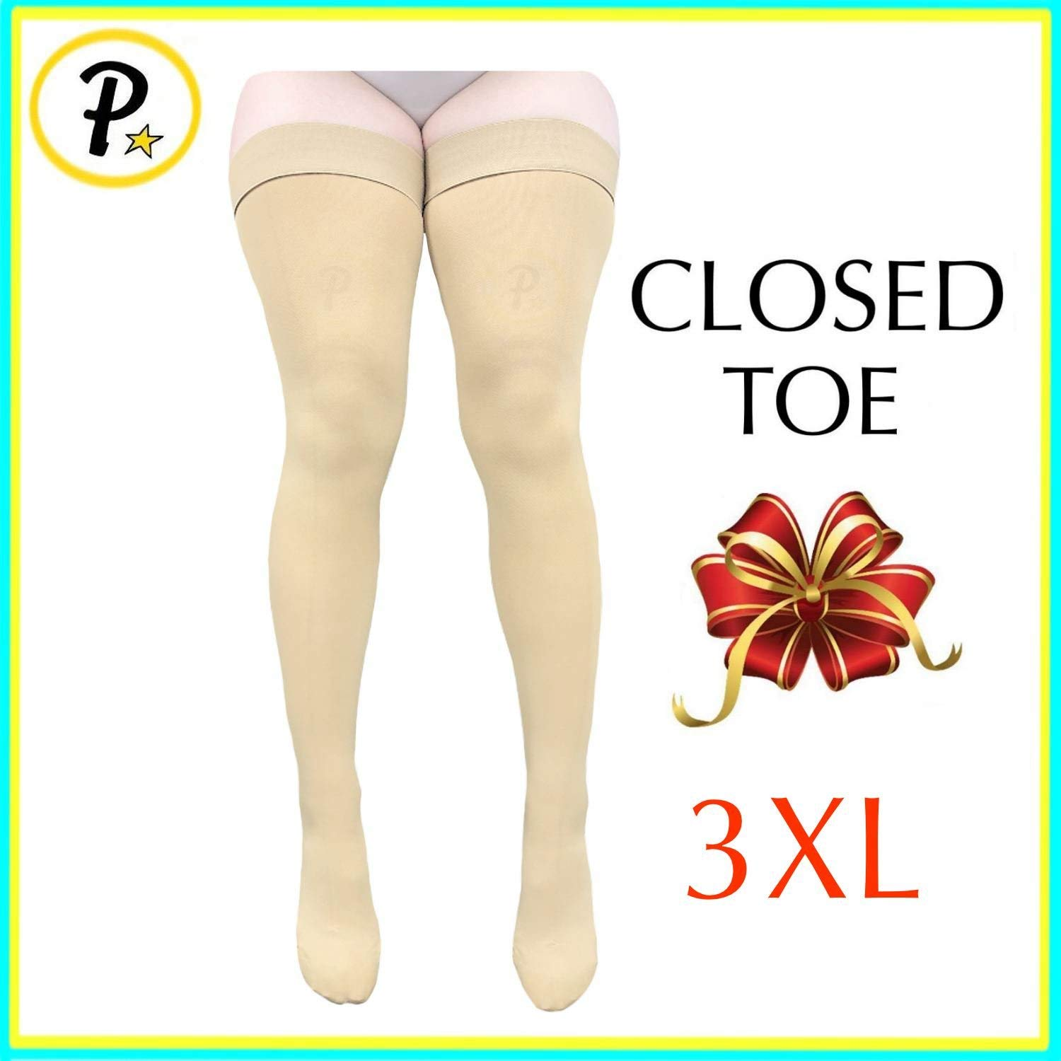 69dbc76d00 Get Quotations · Presadee Thigh High Leg Full Length 20-30 mmHg Graduated  Compression Grade Stocking Swelling Fatigue