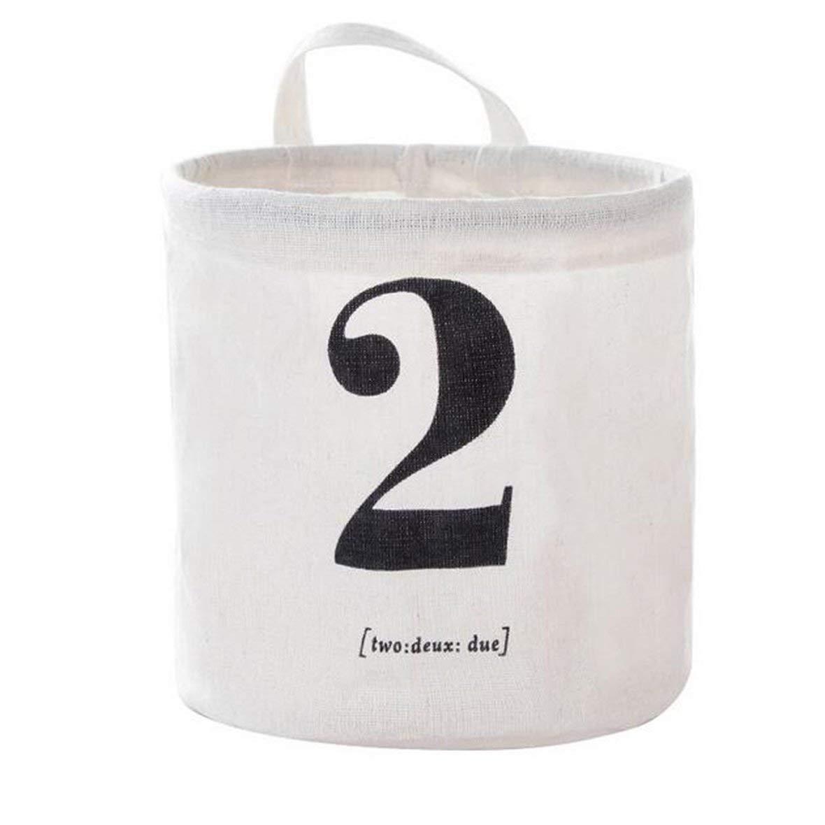 Tivolii Creative Cotton Linen Storage Bag with Number Make up Bag Household Storage Basket PE Coating Waterproof Storage Organizer Household Storage Basket