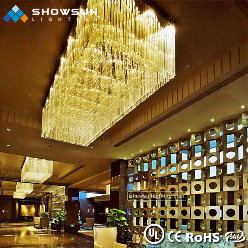Project ceiling light beautiful famous fancy gold crystal Modern large crystals hotel ceiling chandelier for