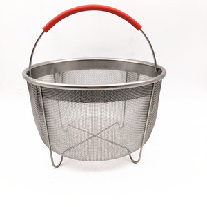 Factory Silicone Handle Round Type Stainless Steel Wire Mesh Steamer Basket