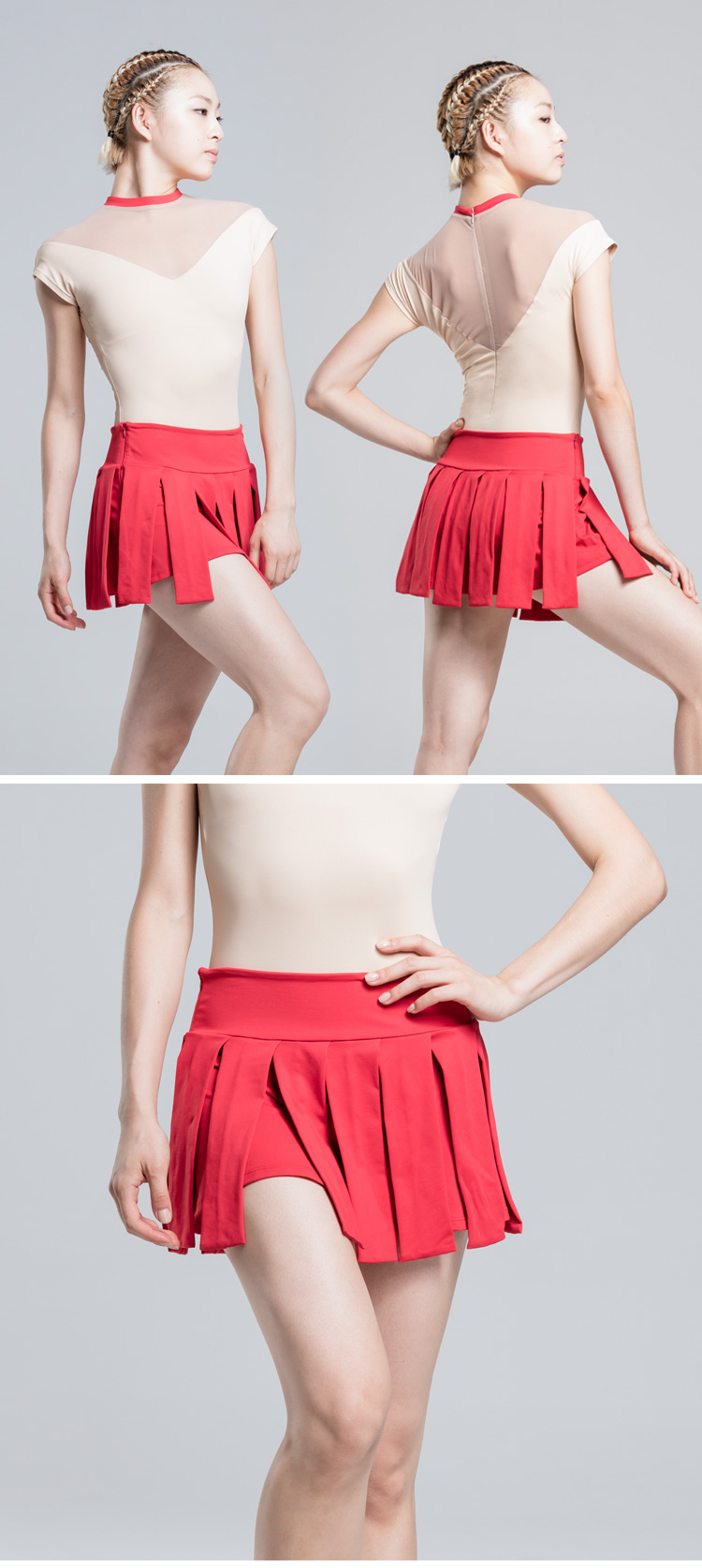117129001 Wide Waist And Two-double Pleated Skirt Pull On Wrap Ballet Skirt