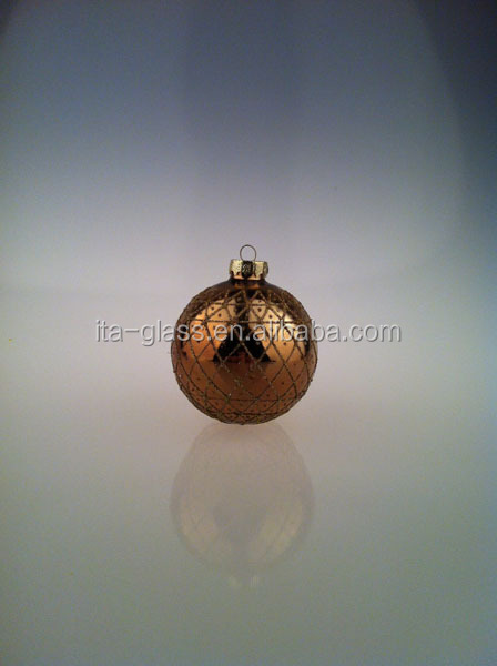 Christmas Decoration 8CM / 80mm Round Golden Christmas Balls Baubles XMAS Tree Ornament wedding decoration