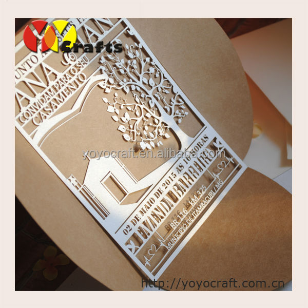 Inc79 Fancy Kraft Paper Envelope Laser Cut Wedding Invitations ...