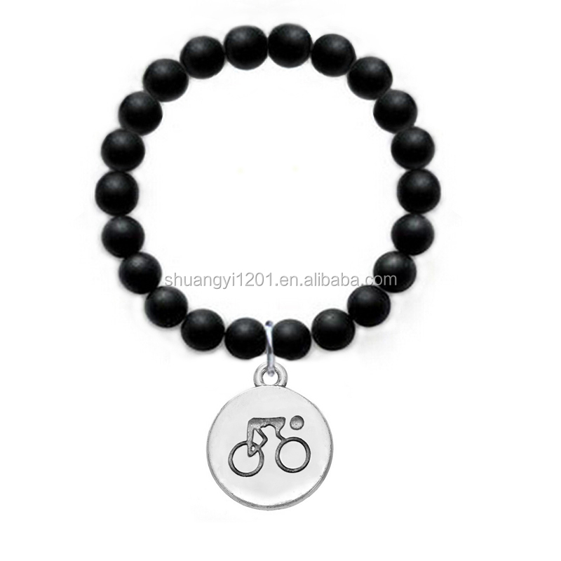 Wholesale 2016 New Fashion Glass Black Beads Bracelet Marathon Bikers Gift Jewelry
